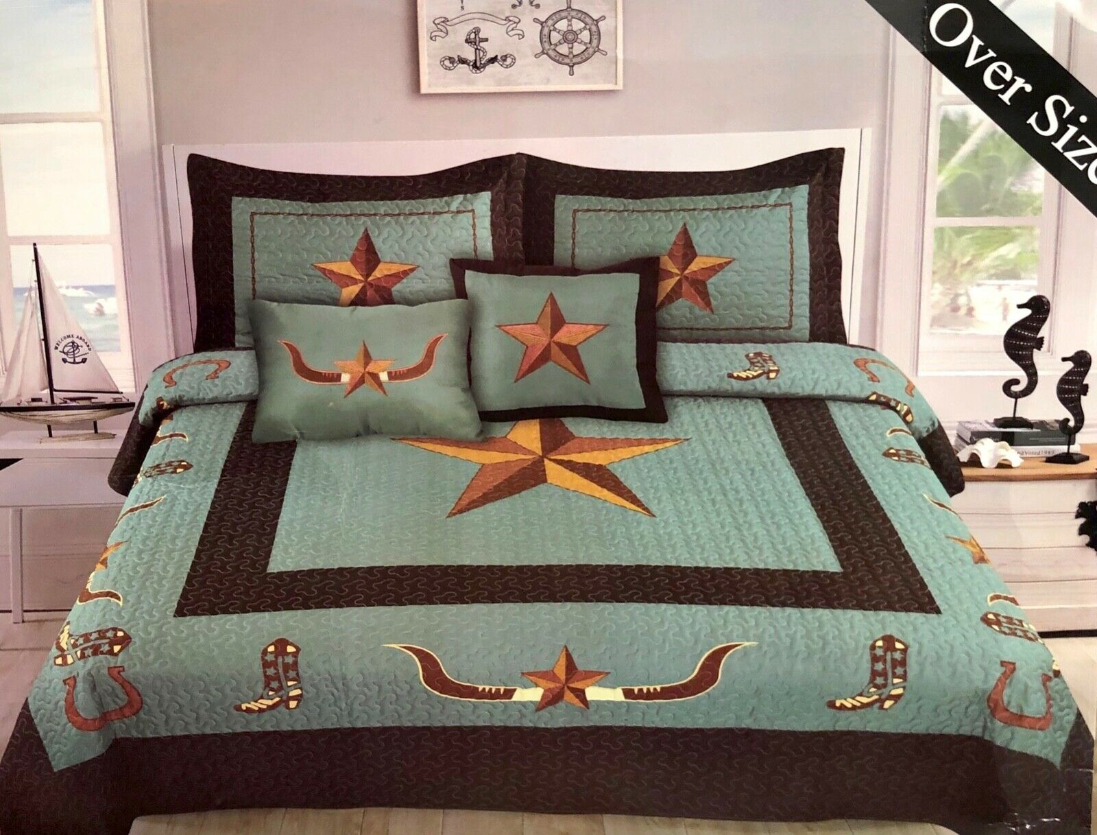 Western Rustic Turquoise Longhorn Star & Stiefel Bedspread Quilt Quilt Quilt - 5 Piece Set f493a0