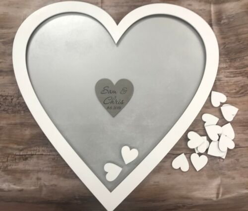Personalised white silver heart wedding guest book drop box wooden keepsake gift