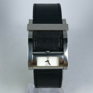 Guess-Womens-Swiss-Made-Black-Leather-Band-White-Dial-Quartz-Watch