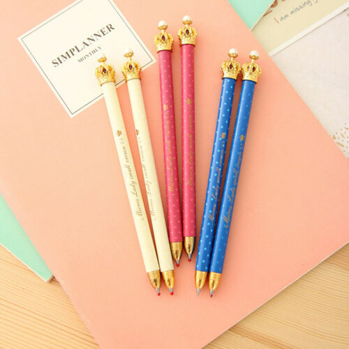 Kreative 3 Stücke 0.5mm Blue Ink Crown Kugelschreiber Multicolor Pen Schulbedarf