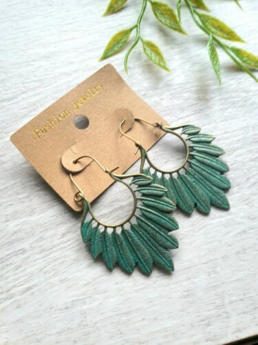 Ethnic Style Boho Leaf Fashion Bronze Drop Earrings Set With Gift Bag