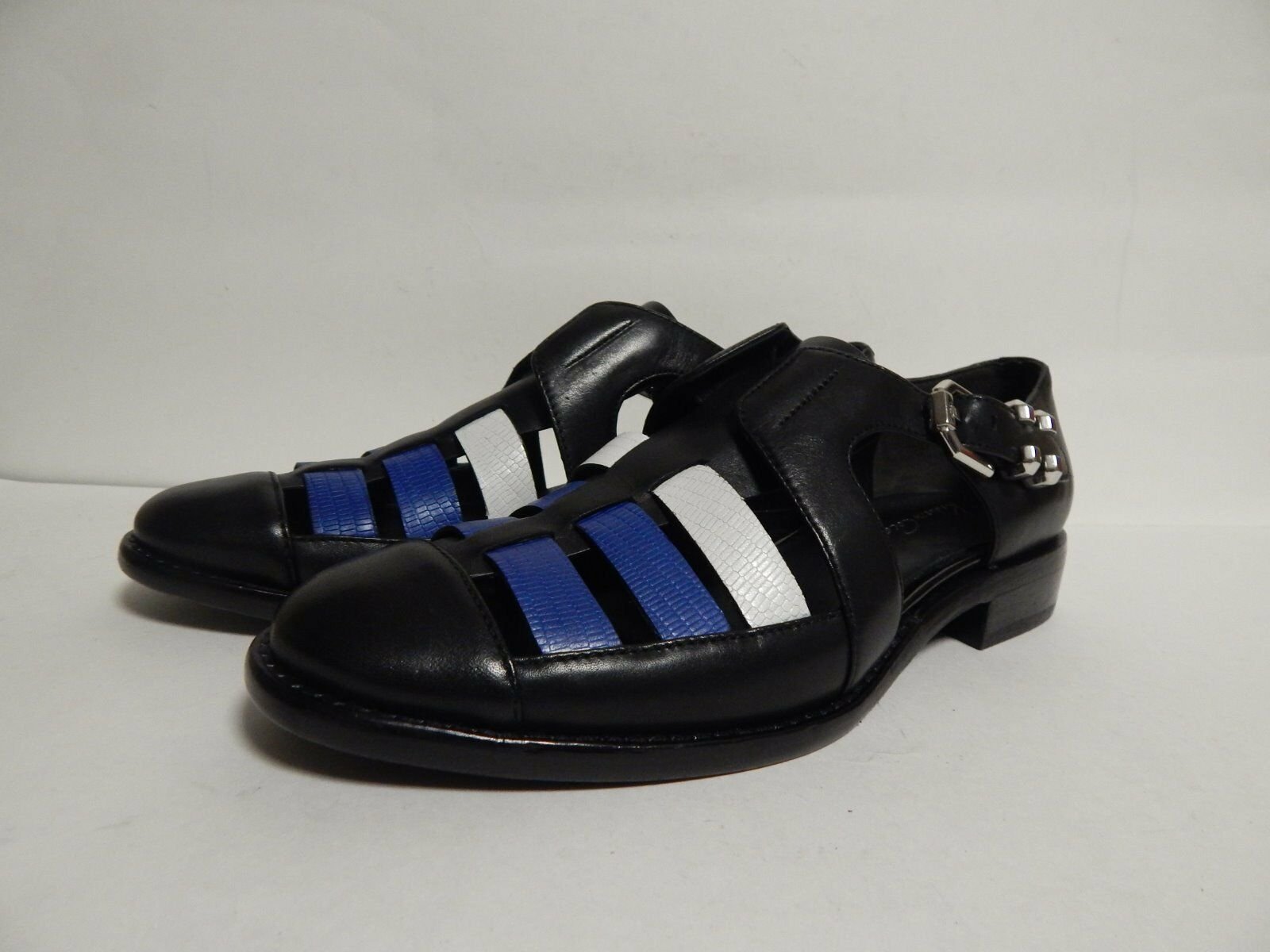 Kenneth Cole Skidmore Caged Flat Black-White-Blue Leather  New without Box