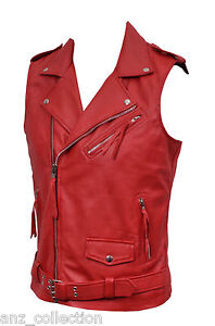 con Biker Gilet italiana in Brando Motorcycle Steam Red di Punk da pelle agnello uomo logo 177pcq0rA