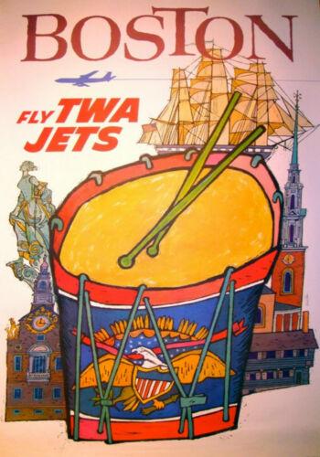 MAGNET Travel Poster Photo Magnet Fly TWA Jets BOSTON
