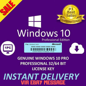 Microsoft Windows 10 Pro Professional 32/ 64bit Genuine ...