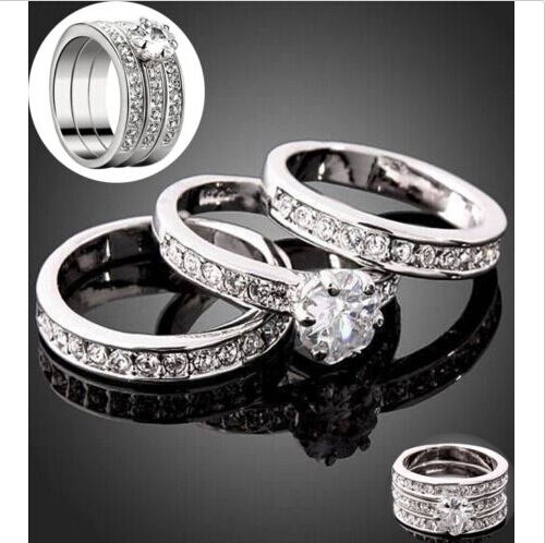 3pcs/set Silver plated Cubic Zirconia Engagement Band Ring Size 7-9 wedding
