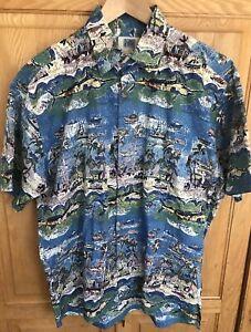 Kahala-Avi-Collection-Mens-Hawaiian-Shirt-marlins-ocean-aloha-island-Size-Medium
