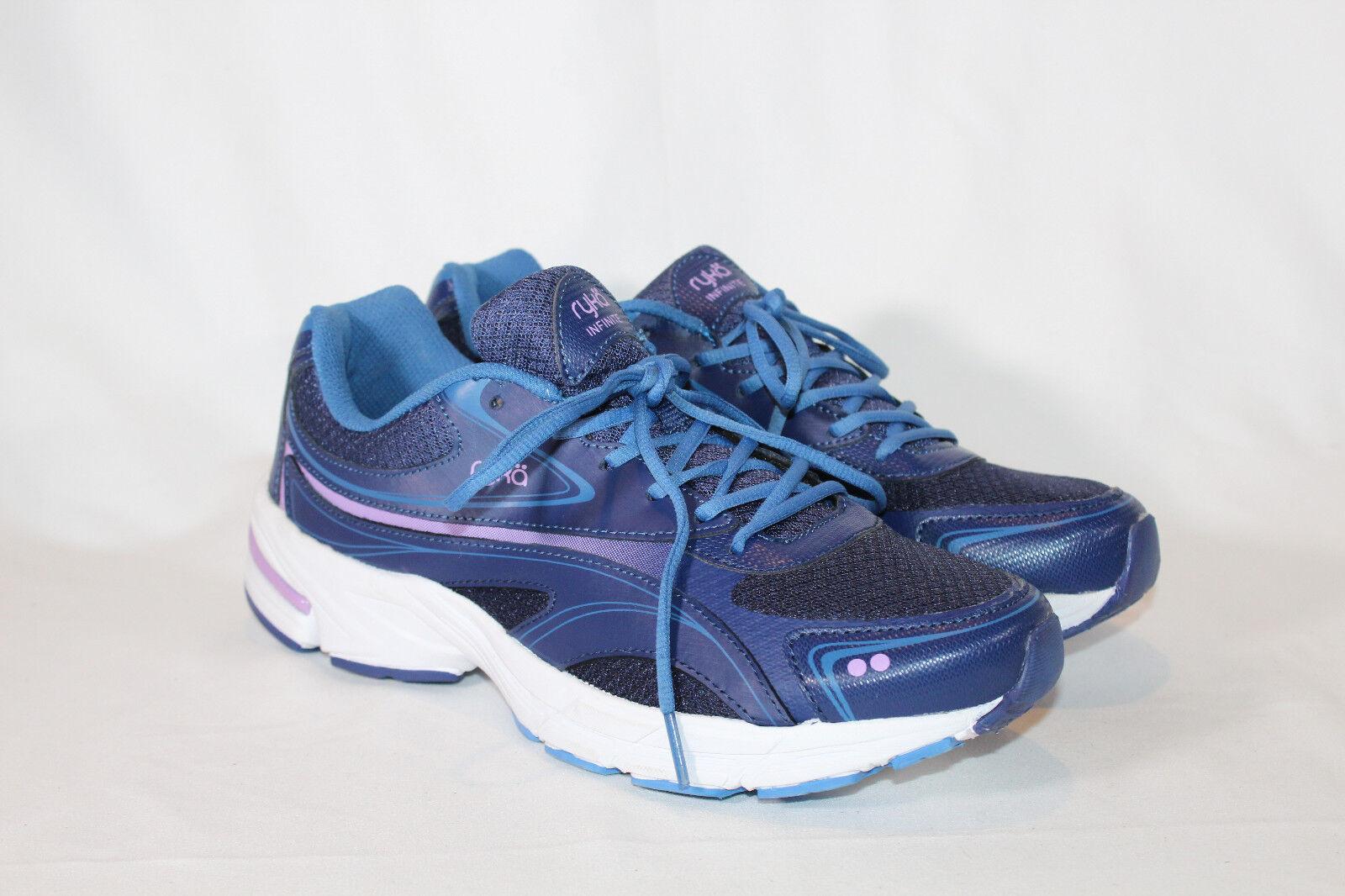 Ryka Mesh Leather Lace-up Walking Sneakers  Infinite 2 11 medium bluee
