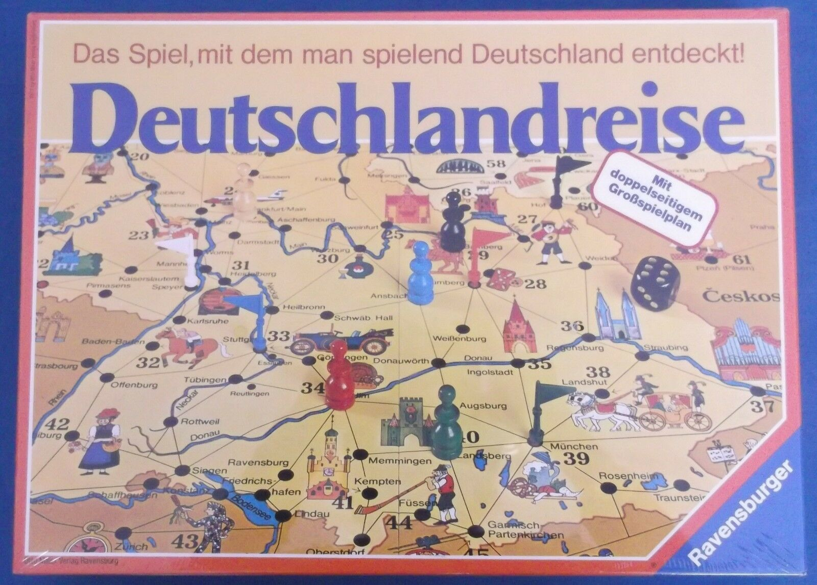 Ravensburger deutschlandreise spiel reisen durch deutschland 1977 versiegelt mint selten