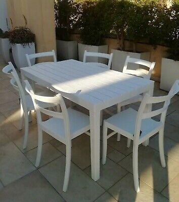 Set Tavolo Resina Effetto Legno Bianco 140X80 +6 Sedie ...
