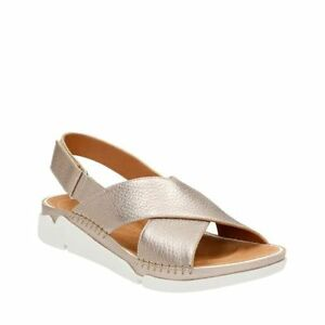 689185fd5890 Details about Clarks Tri Alexia Women s Gold Metallic Athletic Sandals  26115603