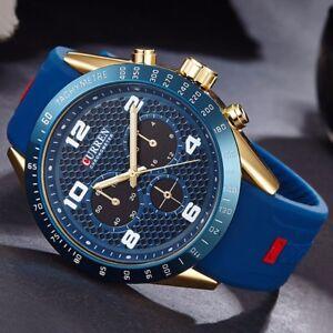 Bussiness-Herrenuhr-Armbanduhr-Analog-Quarz-Uhr-Sportuhr-Uhren-Leder-Watch-Buegel