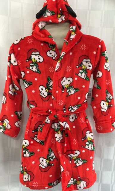 beautiful design new appearance 2019 factory price Snoopy Peanuts Bathrobe Kids S 6 Hooded Red Fire Resistant Christmas Robe  Gift