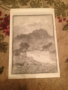 Antique Early 20th Century Charcoal Landscape Drawing w/ Mountains in Background