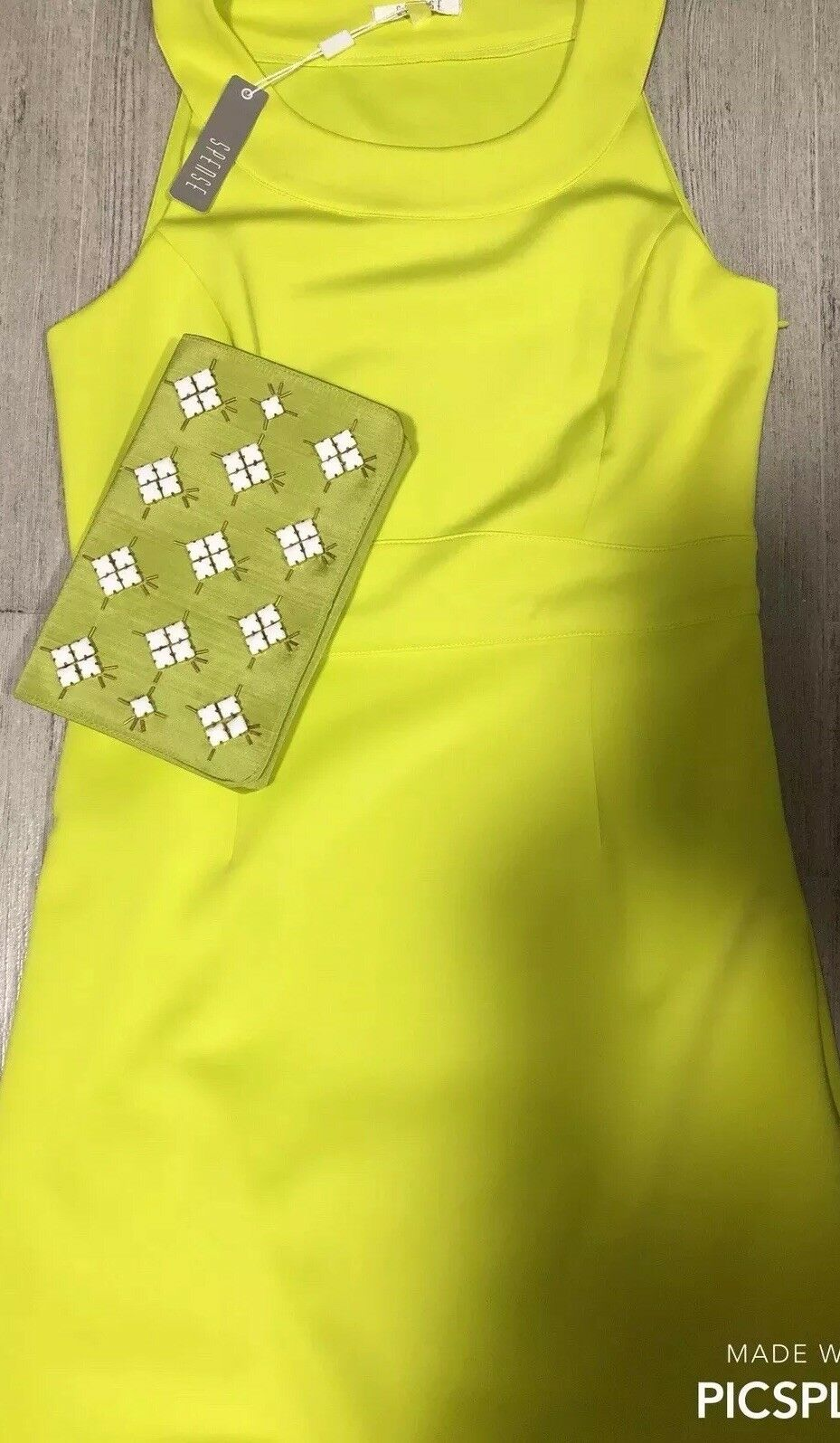 Spense Women Lime Dress Size 10 & Shiraleah Lina Clutch Lime