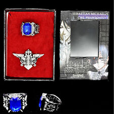 Anime Black Butler Kuroshitsuj Ciel Ring & Sebastian Badge Pin Cosplay Costume
