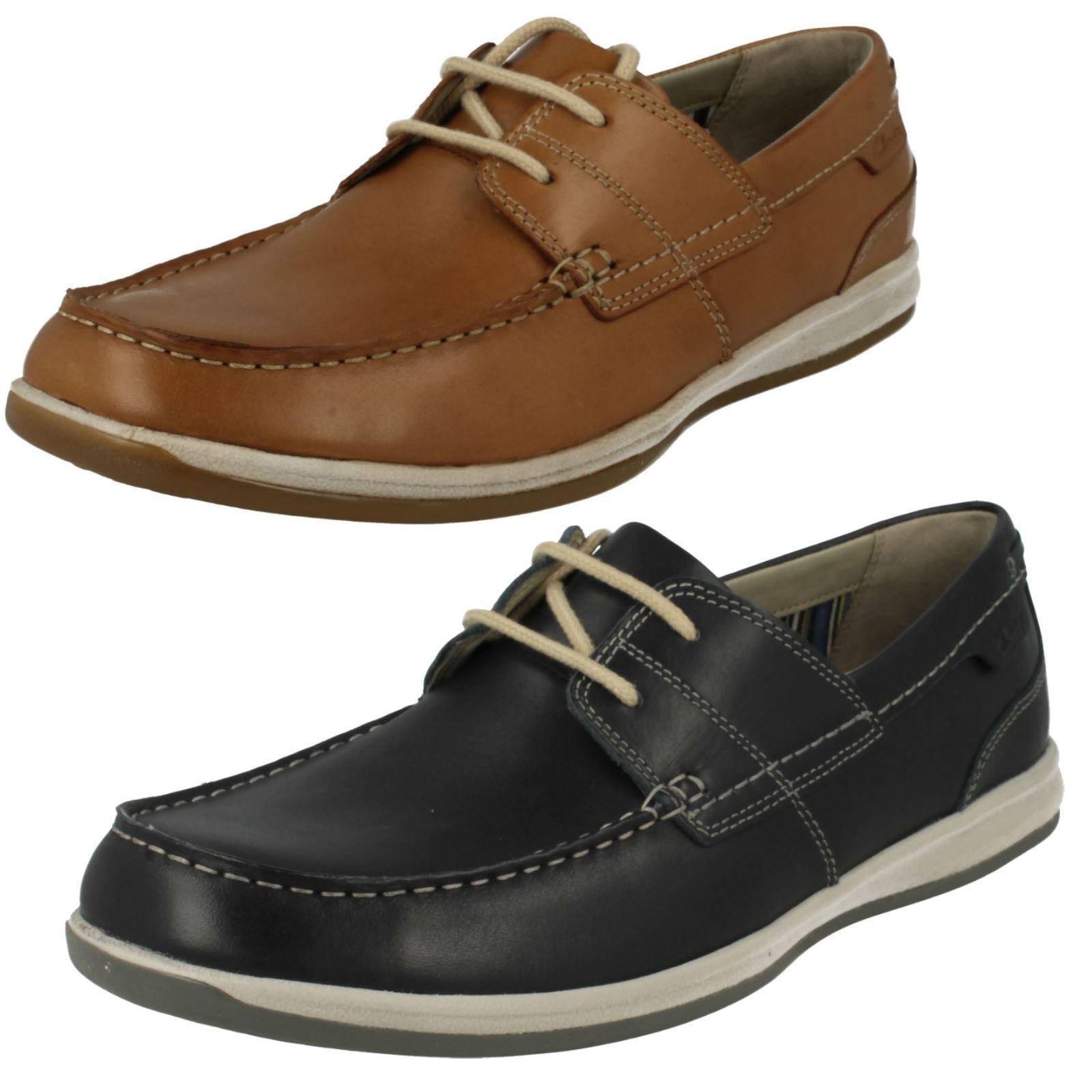 Herren Fallston Style Marineblau Leder Clarks Schnürbar Mokassin Schuhe von Clarks Leder a5d24d