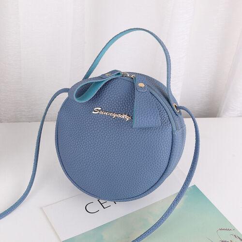Fashion Round Crossbody Bag Messenger Bag PU Leather Mini Shoulder Bag Handbag