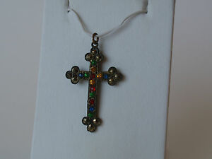 Vintage-Multi-Color-Faceted-Plastic-Stone-Marcasite-Cross-Charm-Pendant-Goldtone