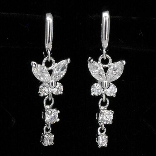 Butterfly Fairy Dangle Earrings Jewel Wedding Bridal Party 18K W//GP CZ Clear 410