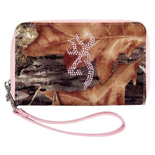 Browning Mossy Oak Pink Bling Wallet Wristlet Camouflage
