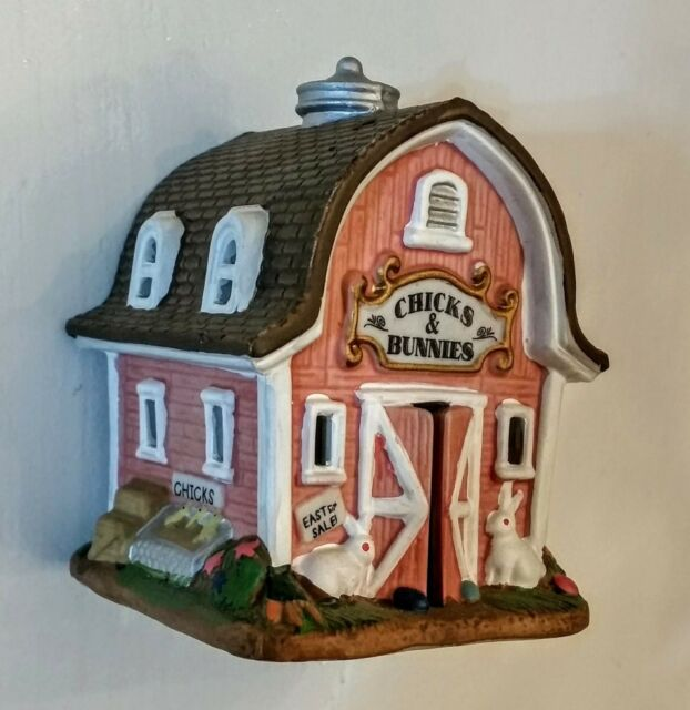 "Pink Barn Figurine Porcelain Bisque Chicks & Bunnies 3 1/4"" Ceramic She Shed  eBay"