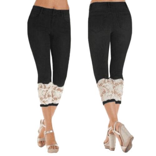 Damen 3//4 Capri Jeans Spitze Hose Bermuda Stretch Hüftjeans Caprihose Jeanshose