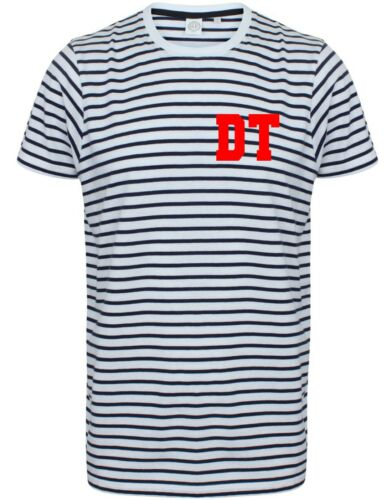 Personalised Initial Striped T Shirt Unisex Monogram Custom Stripey Tshirt