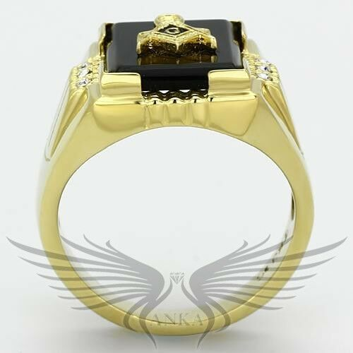 Men/'s Masonic Freemason Ring Gold Plated Agate Crystal Accented TK795