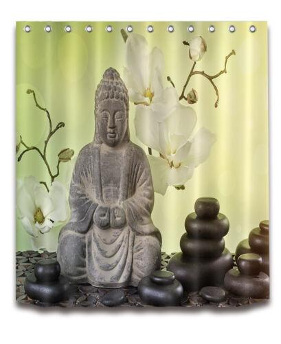 "Buddha Orchid Stone Bath Waterproof Fabric Shower Curtain /&12 Hooks 72//79/"""