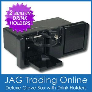 BLACK DELUXE STORAGE RECESSED GLOVE BOX WITH DRINK HOLDERS & LOCK - Boat/Caravan