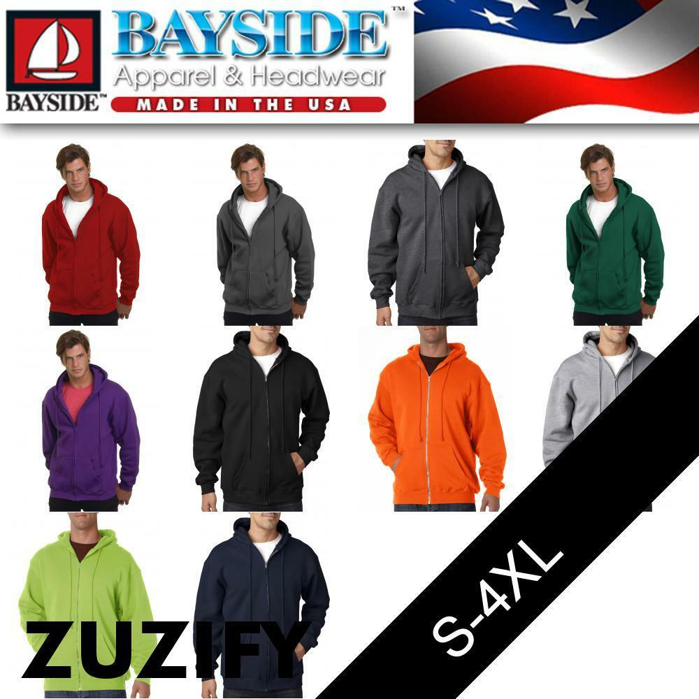 Bayside USA-Made Full-Zip Hooded Sweatshirt. 900