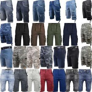 New-Mens-Crosshatch-Canvas-Cargo-Denim-Camo-Shorts-Chino-2019-Styles-30-42-034