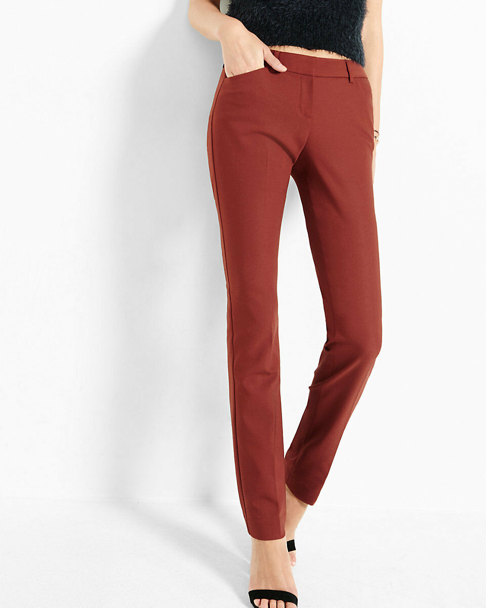 NWT EXPRESS  80 Rust ULTIMATE DOUBLE WEAVE COLUMNIST Slim mid rise PANTS SZ 4R