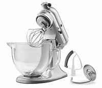 KitchenAid KSM105GBC 5-Qt Tilt Head Stand Mixer Glass Bowl/Flex Edge (Metallic Chrome)