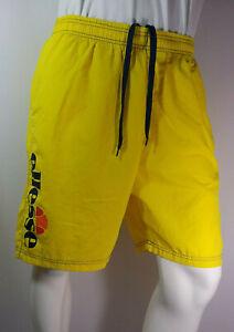 Mens Lightweight Cotton Shorts ELLESSE Bahamas Beach ShortsNeon Yellow