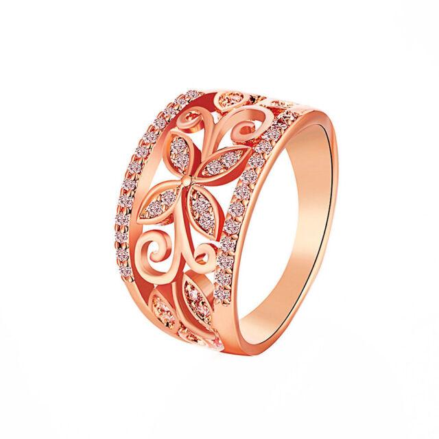 Elegant Women Flower Heart Rhinestone Rose Gold Plated Stainless Steel Ring