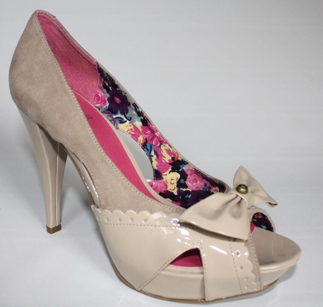 Women's shoes G by Guess HOPSKOTCH 2 Platform Open Toe Heels Bow Accent Natural