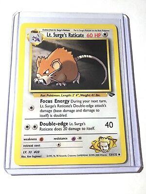 Surge/'s Raticate Uncommon 53//132 NM//MT Pokemon Gym Challenge 1st Edition Lt