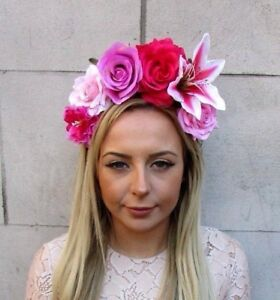 Hot Light Pink Lily Rose Flower Fascinator Headband Races Headpiece ... 1757a7d89b0