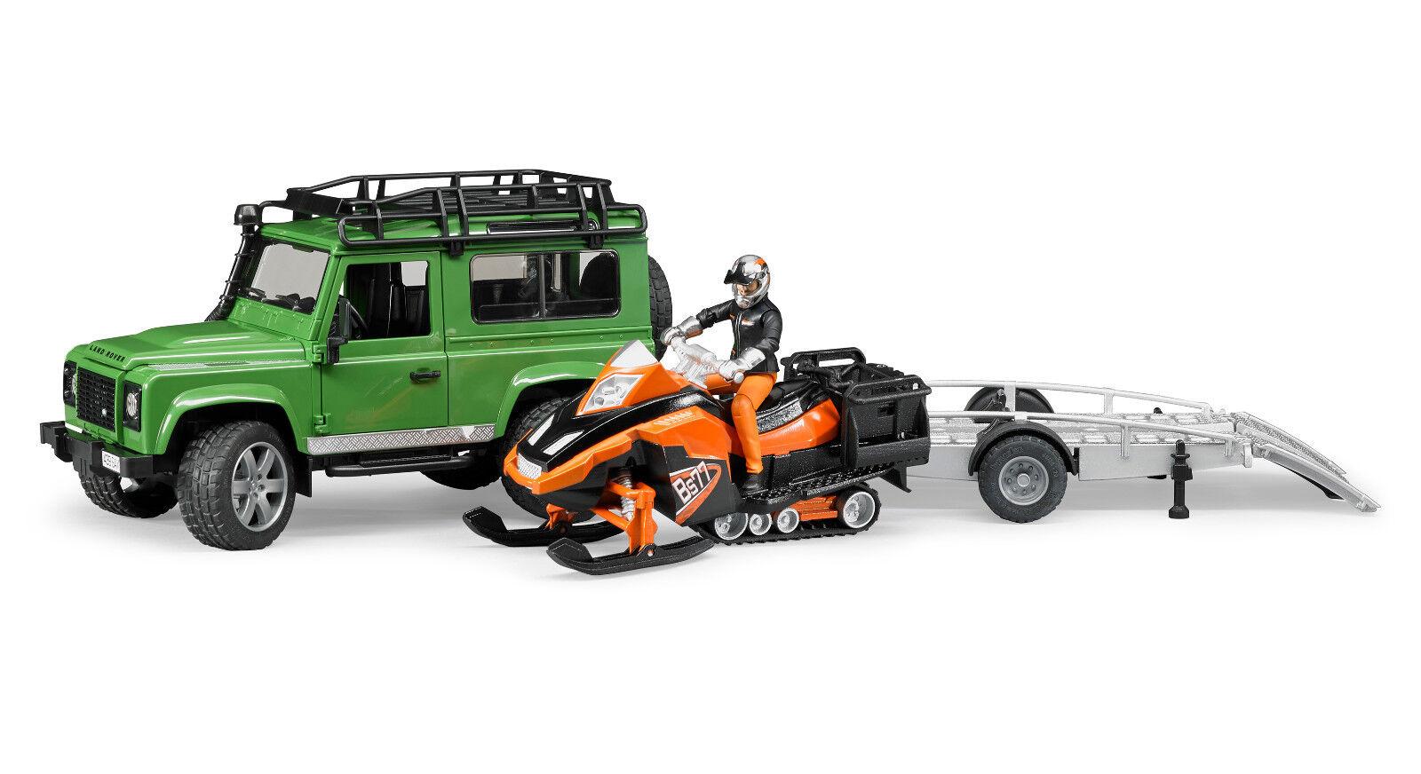 BRUDER 02594 Land Rover  Carrello motoslitta e personaggio