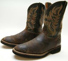 MENS JUSTIN 5076 RANCH WORN BRN LEATHER COWBOY WESTERN CREPE WORK BOOTS 13 D 13D