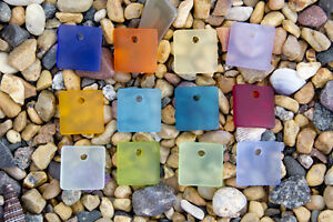 6-x-Beach-Sea-Glass-Curved-Pendant-Beads-Flat-Square-17-5mm-Pick-Your-Color-P22