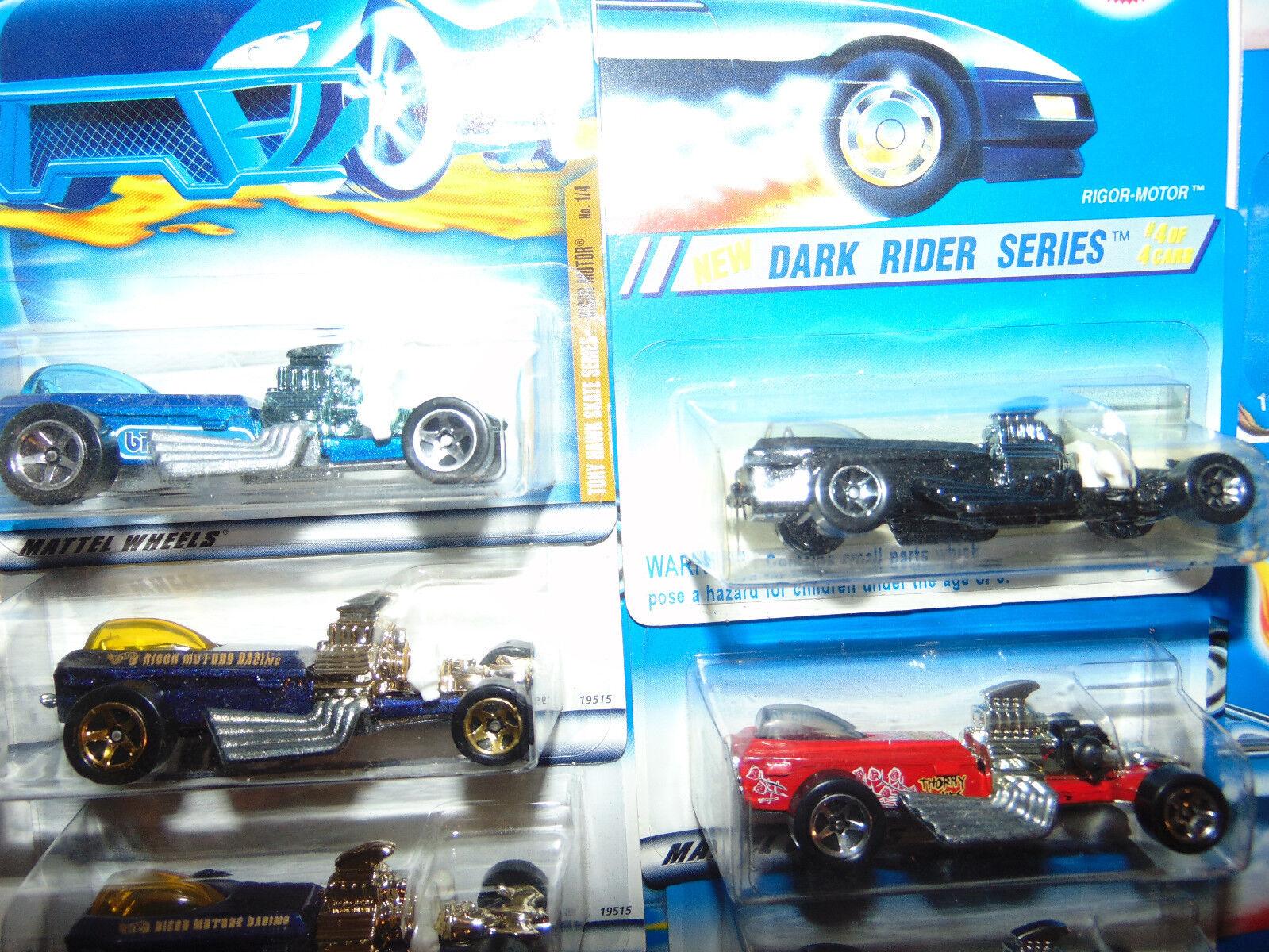 11) Hot Wheels RIGOR-MOTOR UPSIDE UPSIDE UPSIDE DOWN ERROR bluee Card 247 11849 13287 19515 SET b4354b