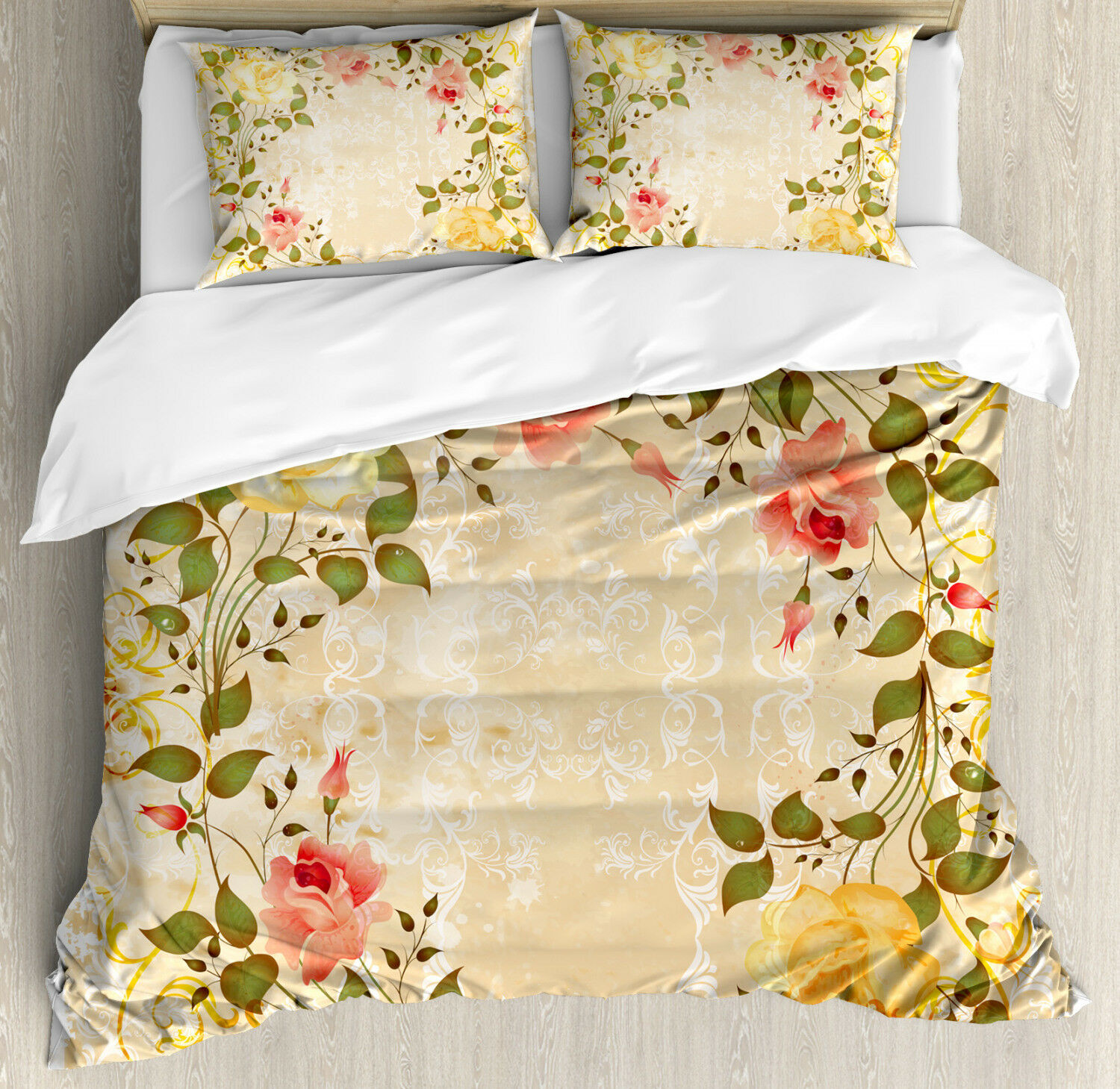Vintage Duvet Cover Set with Pillow Shams Leaves pinks Floral Print