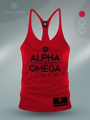 Aao Fitness Red/ Black V3 Bodybuilding Gym Muscle Vest - Workout Mens S M L Xl Knitterfestigkeit