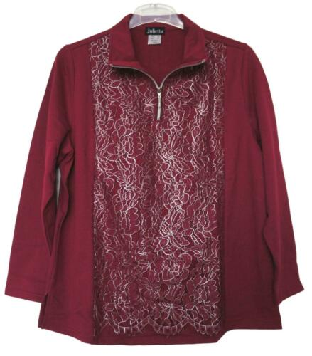 NEU Übergröße elegantes Damen Sweat Shirt bordeaux glänzende Spitze Gr.46,50,56