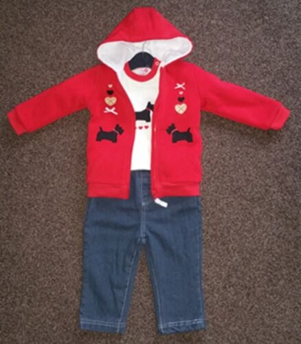 Baby Girls 3pc Outdoor Winter Outfit Top Trouser Jeans /& Warm Jacket Dog Babies