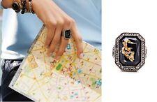 R297 Betsey Johnson Vintage Downton Abbey Navy Blue Moon Stone Gemstone Ring  US