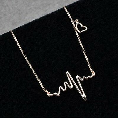 6261ce543 Gold Heart Rhythm ECG Heartbeat sign Pendant Necklace with floating heart  choker | eBay